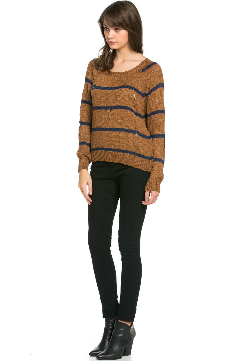 Round Neck Striped Sweaters Mocha - Sweaters - My Yuccie - 5
