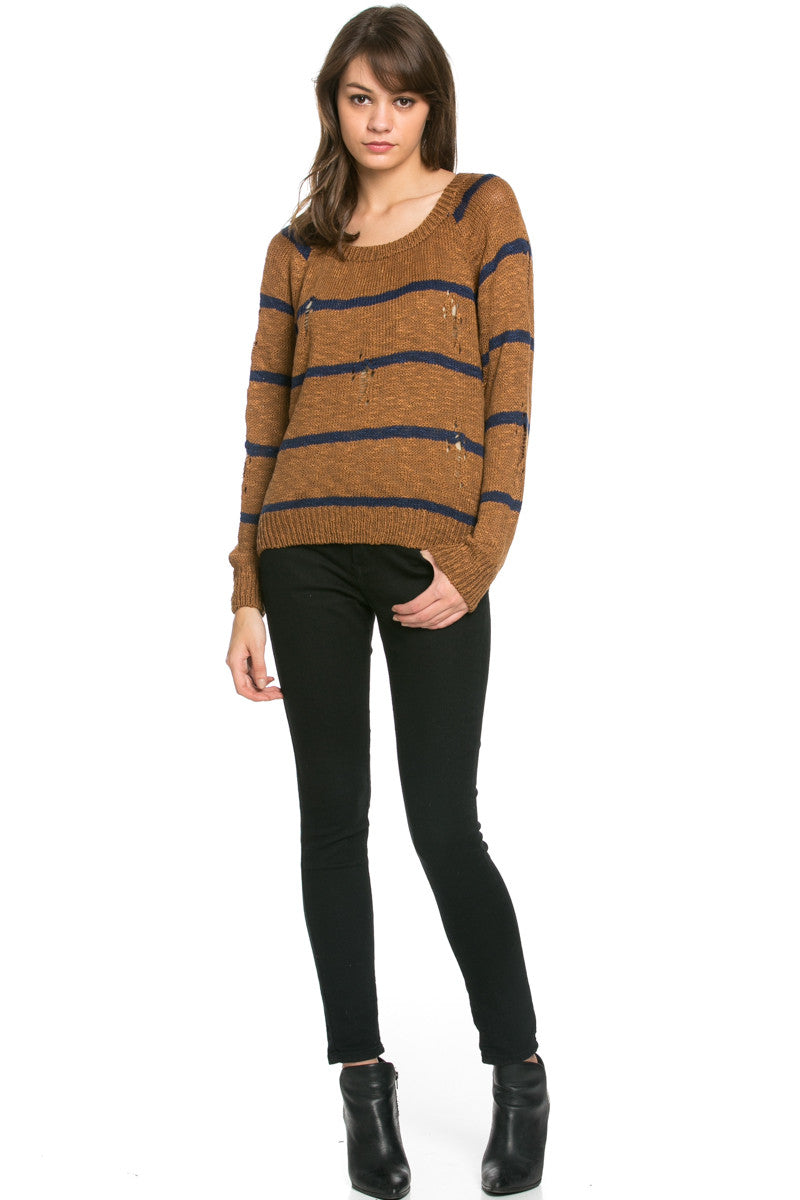 Round Neck Striped Sweaters Mocha - Sweaters - My Yuccie - 6