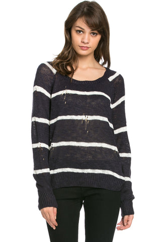 Round Neck Striped Sweaters Navy - Sweaters - My Yuccie - 1