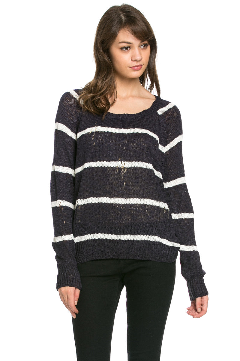 Round Neck Striped Sweaters Navy - Sweaters - My Yuccie - 2