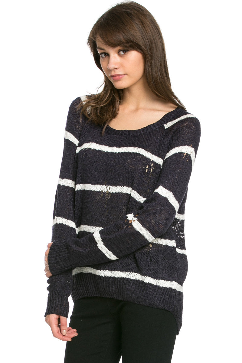 Round Neck Striped Sweaters Navy - Sweaters - My Yuccie - 3