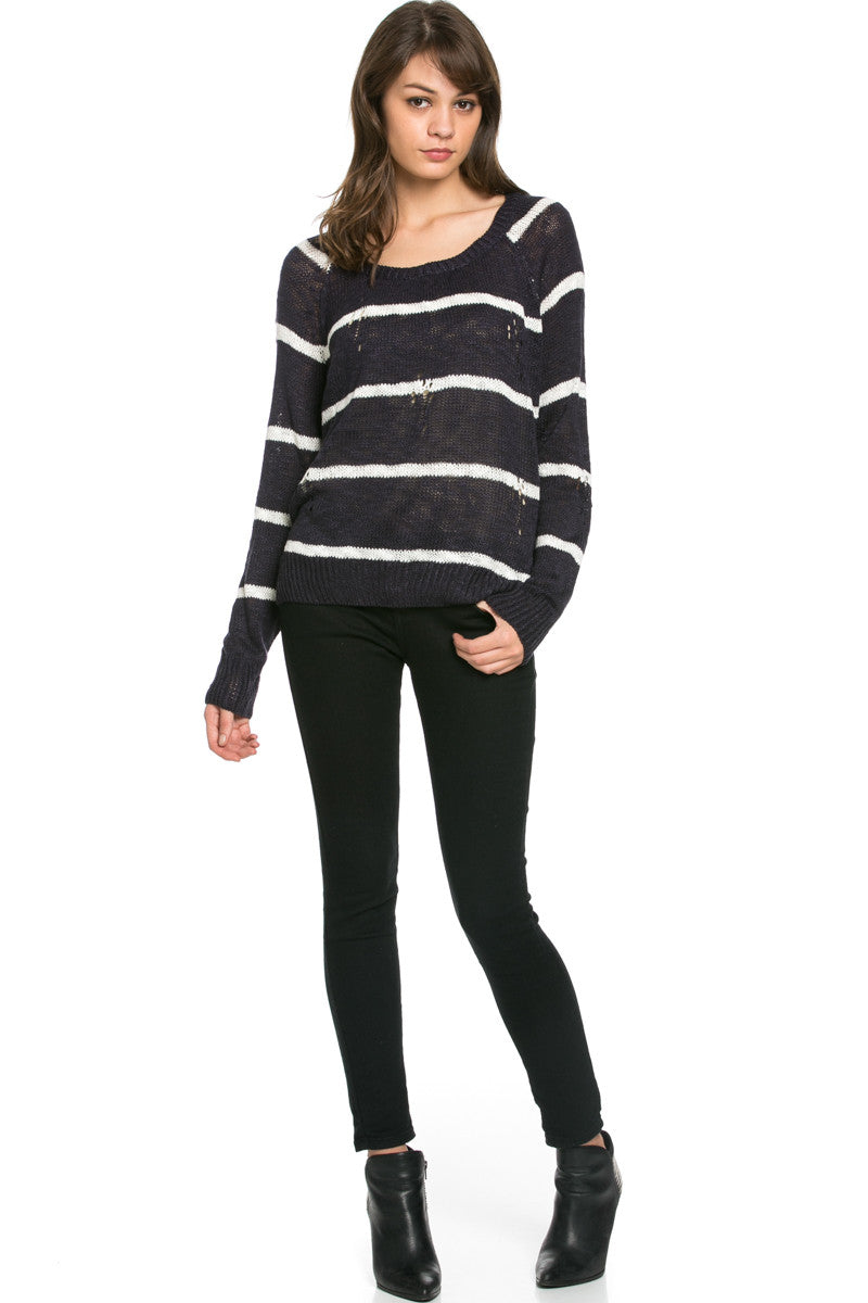 Round Neck Striped Sweaters Navy - Sweaters - My Yuccie - 4