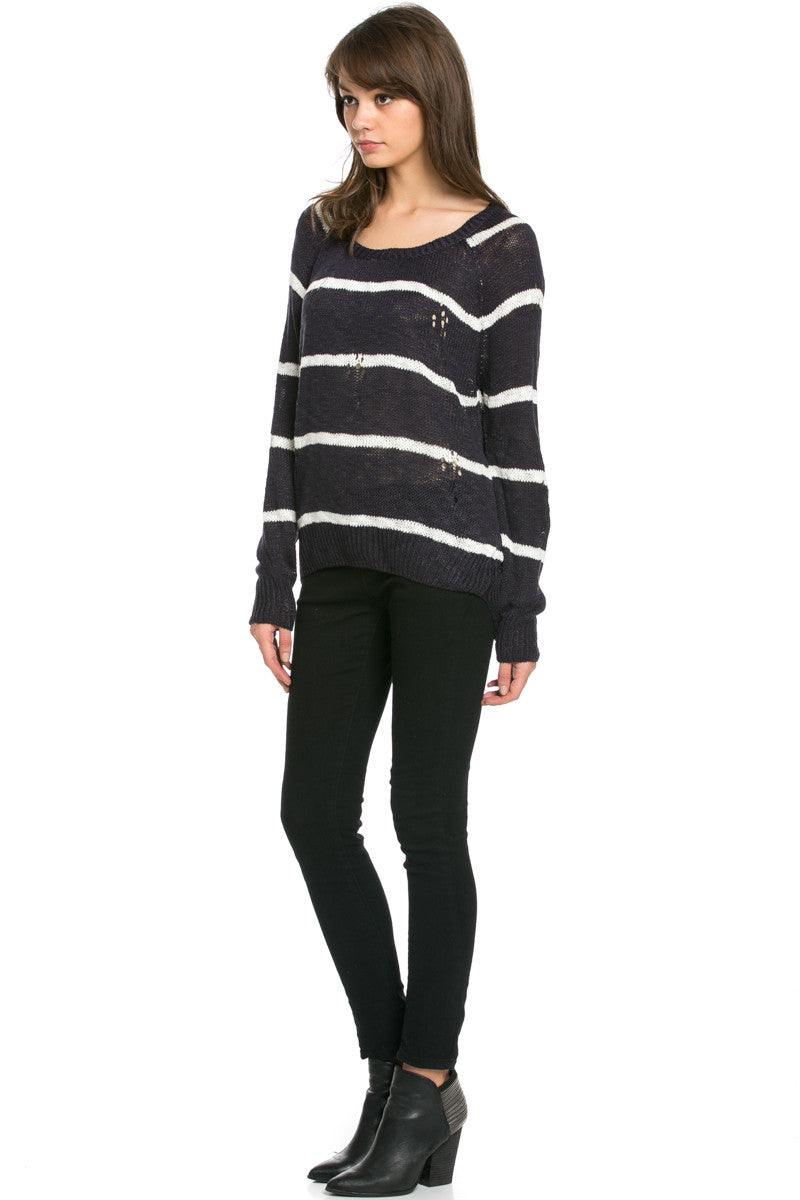 Round Neck Striped Sweaters Navy - Sweaters - My Yuccie - 5