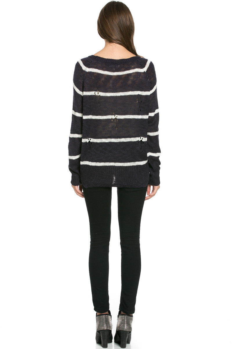 Round Neck Striped Sweaters Navy - Sweaters - My Yuccie - 6