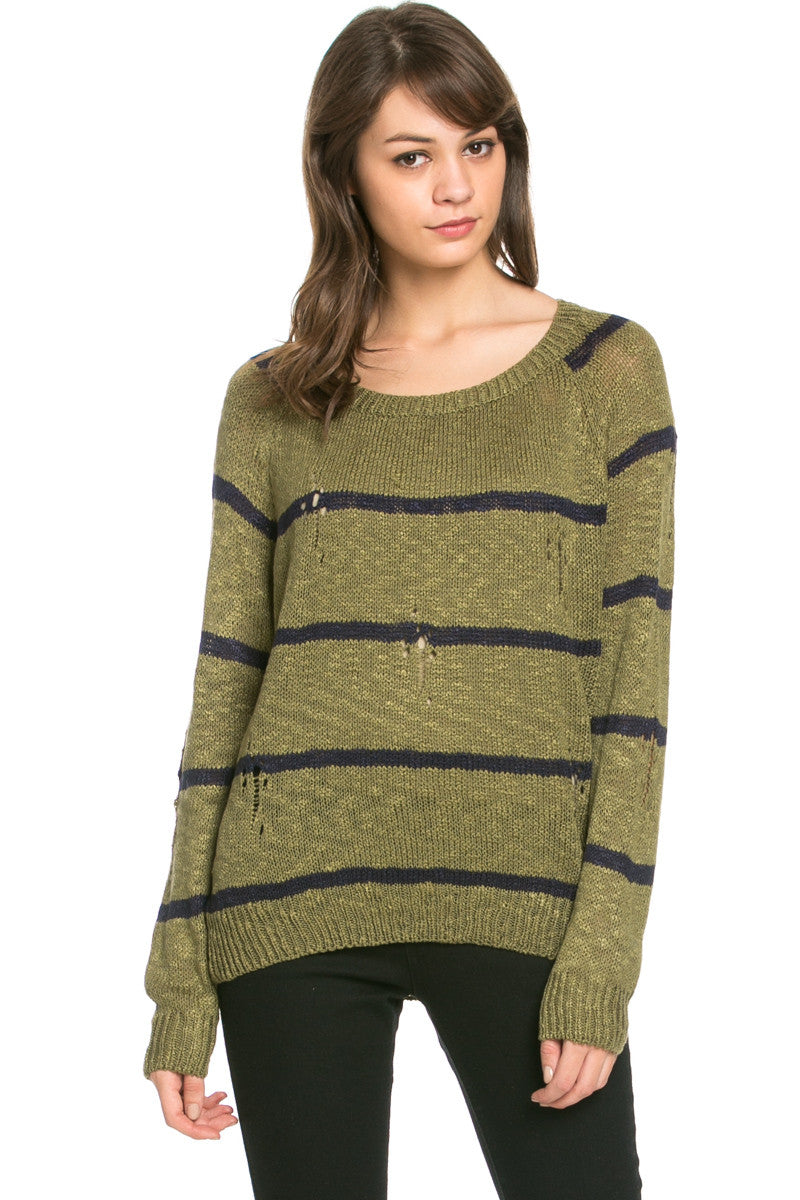 Round Neck Striped Sweaters Olive - Sweaters - My Yuccie - 1