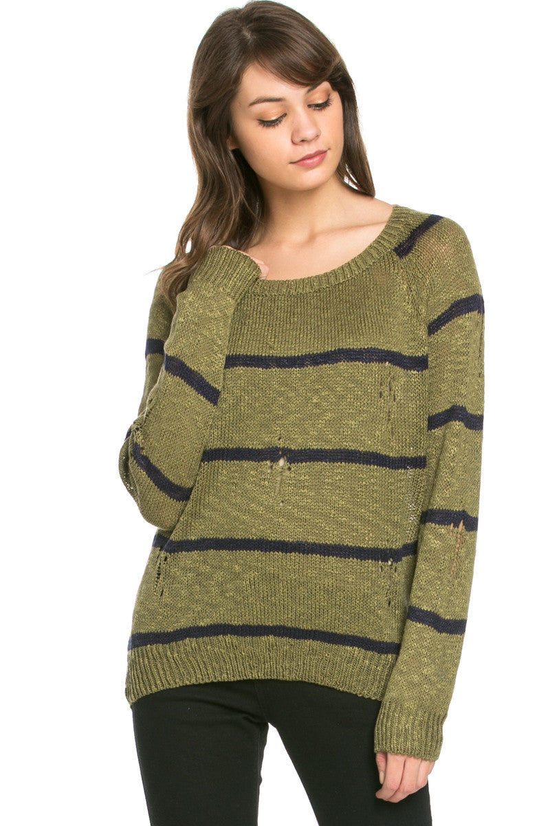 Round Neck Striped Sweaters Olive - Sweaters - My Yuccie - 2