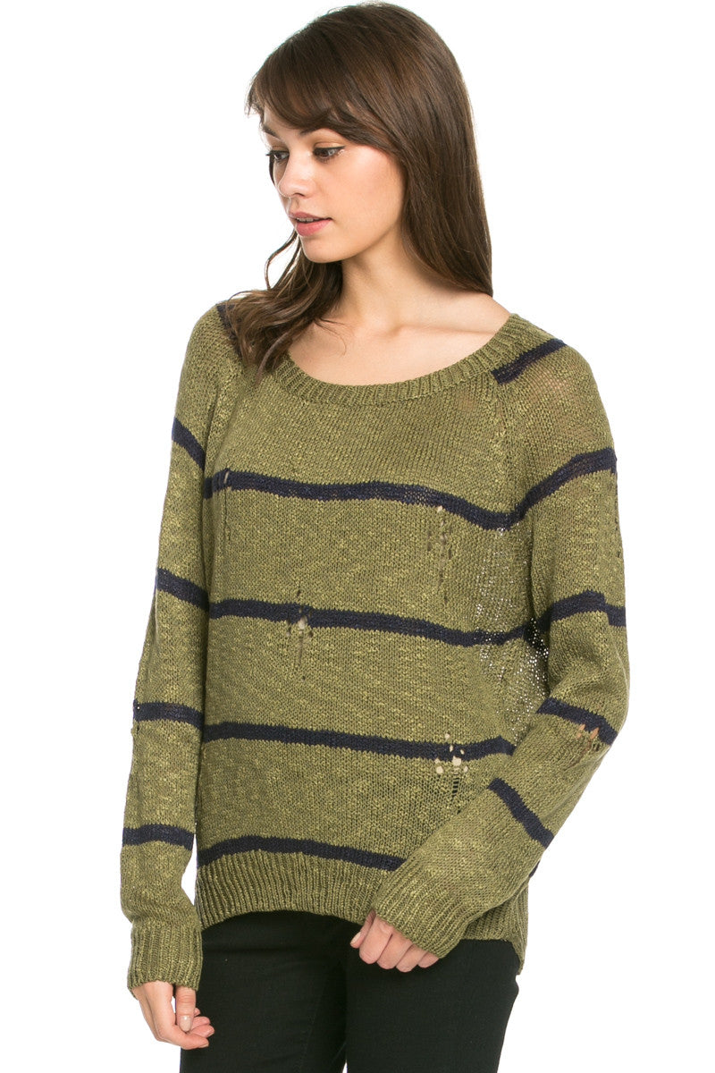 Round Neck Striped Sweaters Olive - Sweaters - My Yuccie - 3