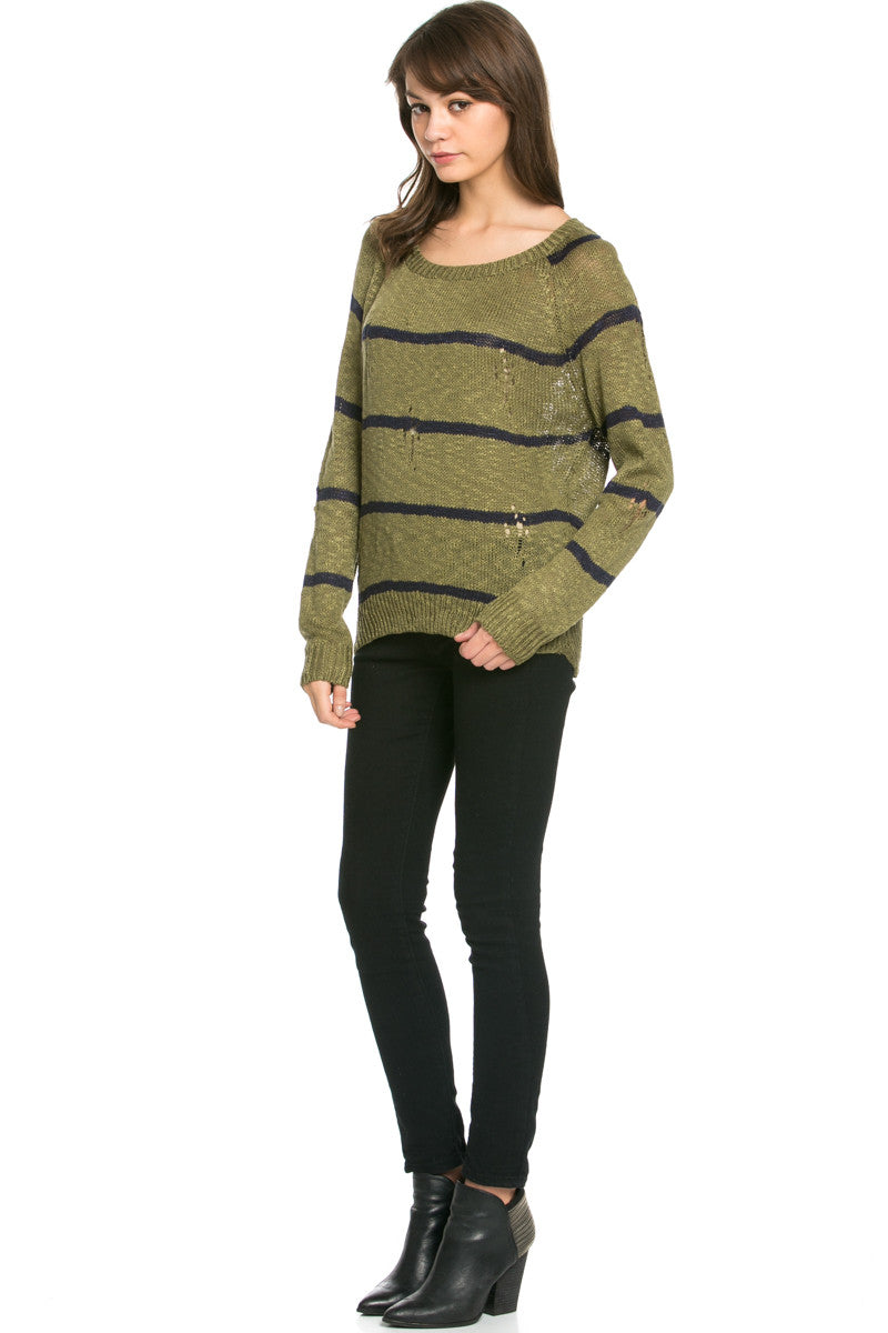 Round Neck Striped Sweaters Olive - Sweaters - My Yuccie - 4