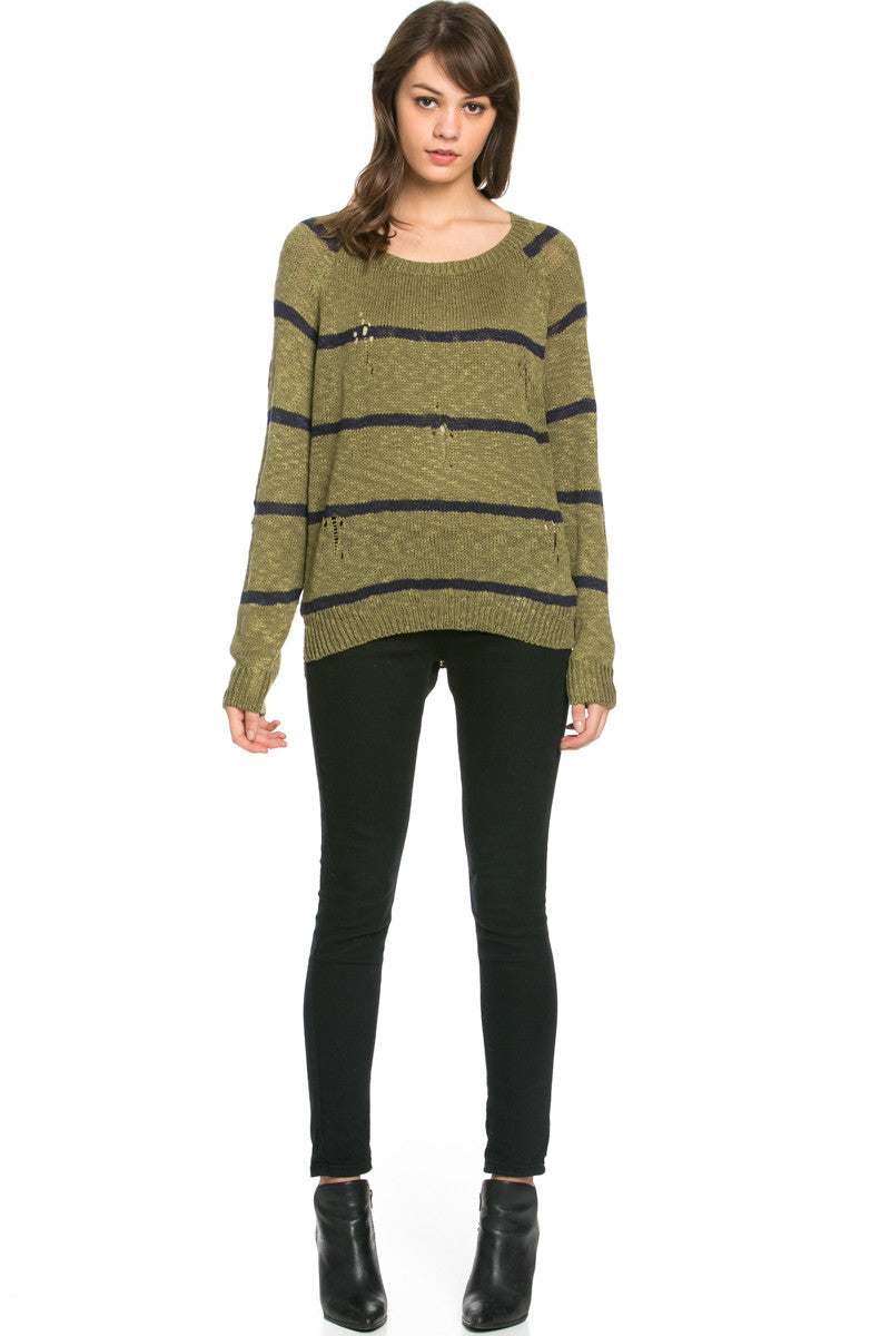 Round Neck Striped Sweaters Olive - Sweaters - My Yuccie - 5