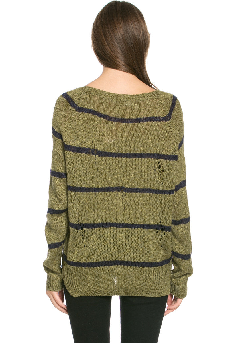 Round Neck Striped Sweaters Olive - Sweaters - My Yuccie - 6
