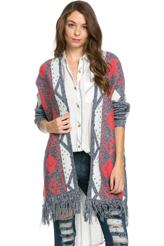 Aztec and Fringes Cardigan Coral - Jacket - My Yuccie - 1