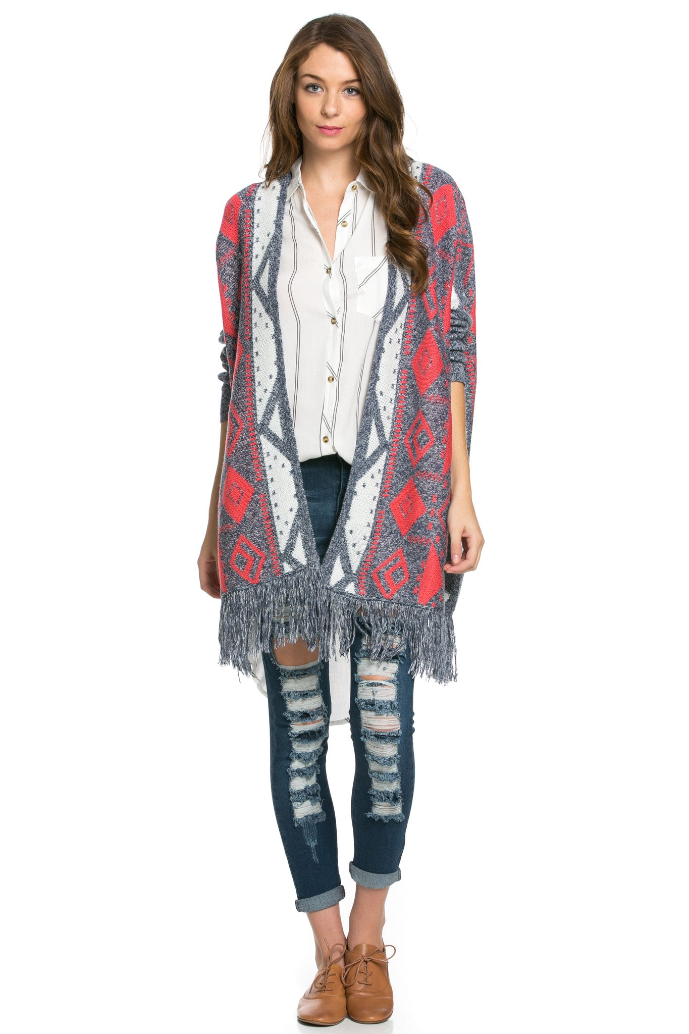 Aztec and Fringes Cardigan Coral - Jacket - My Yuccie - 4