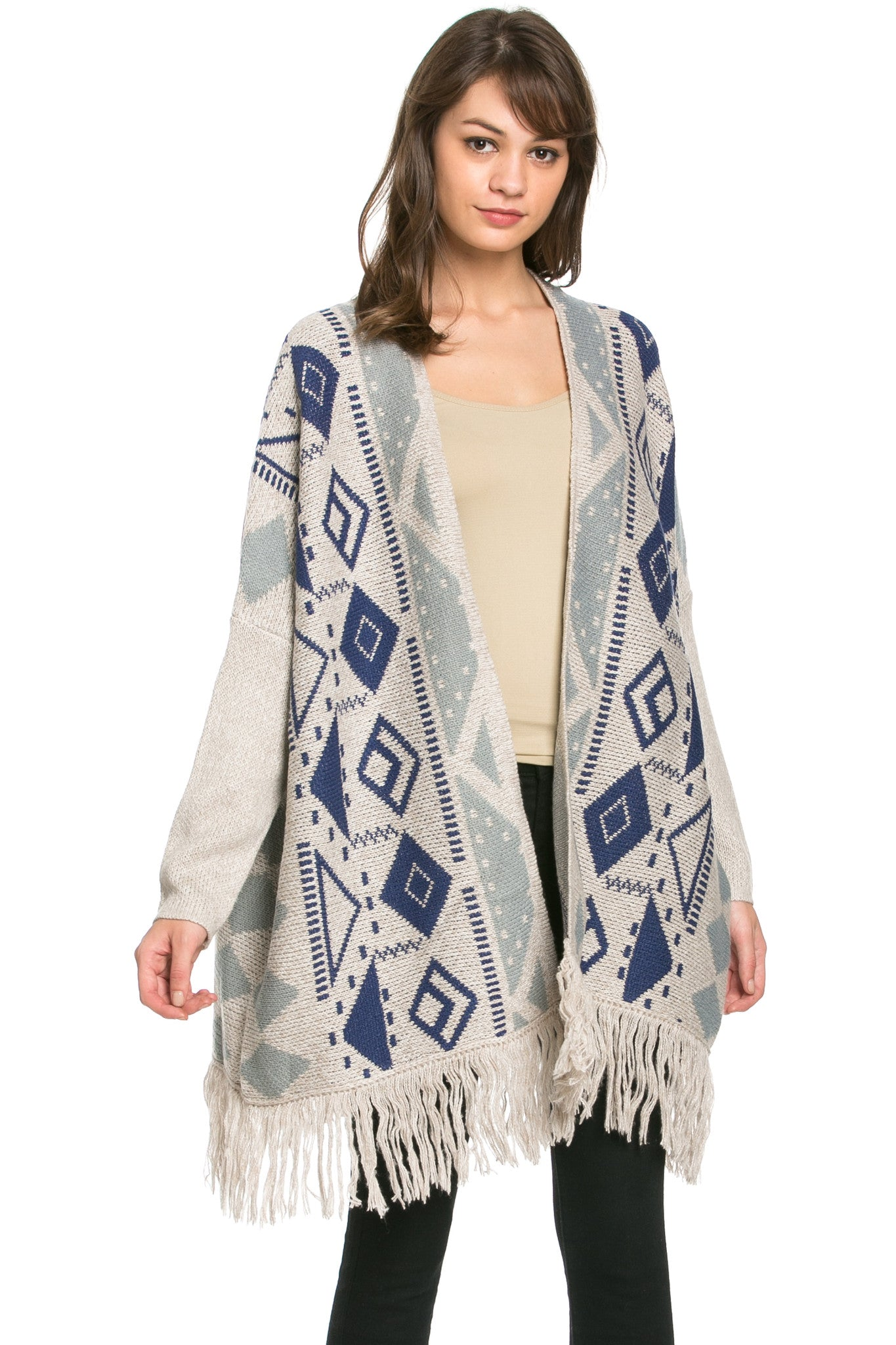Aztec and Fringes Cardigan Taupe - Jacket - My Yuccie - 1