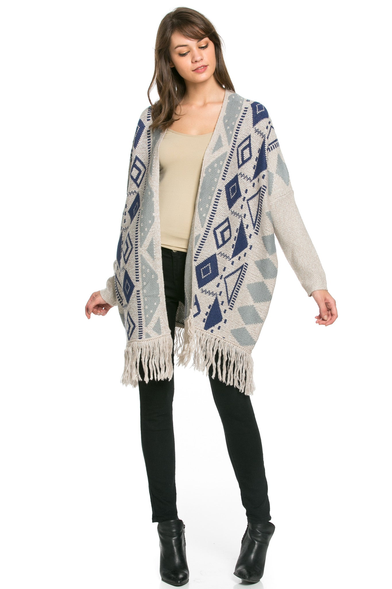 Aztec and Fringes Cardigan Taupe - Jacket - My Yuccie - 4