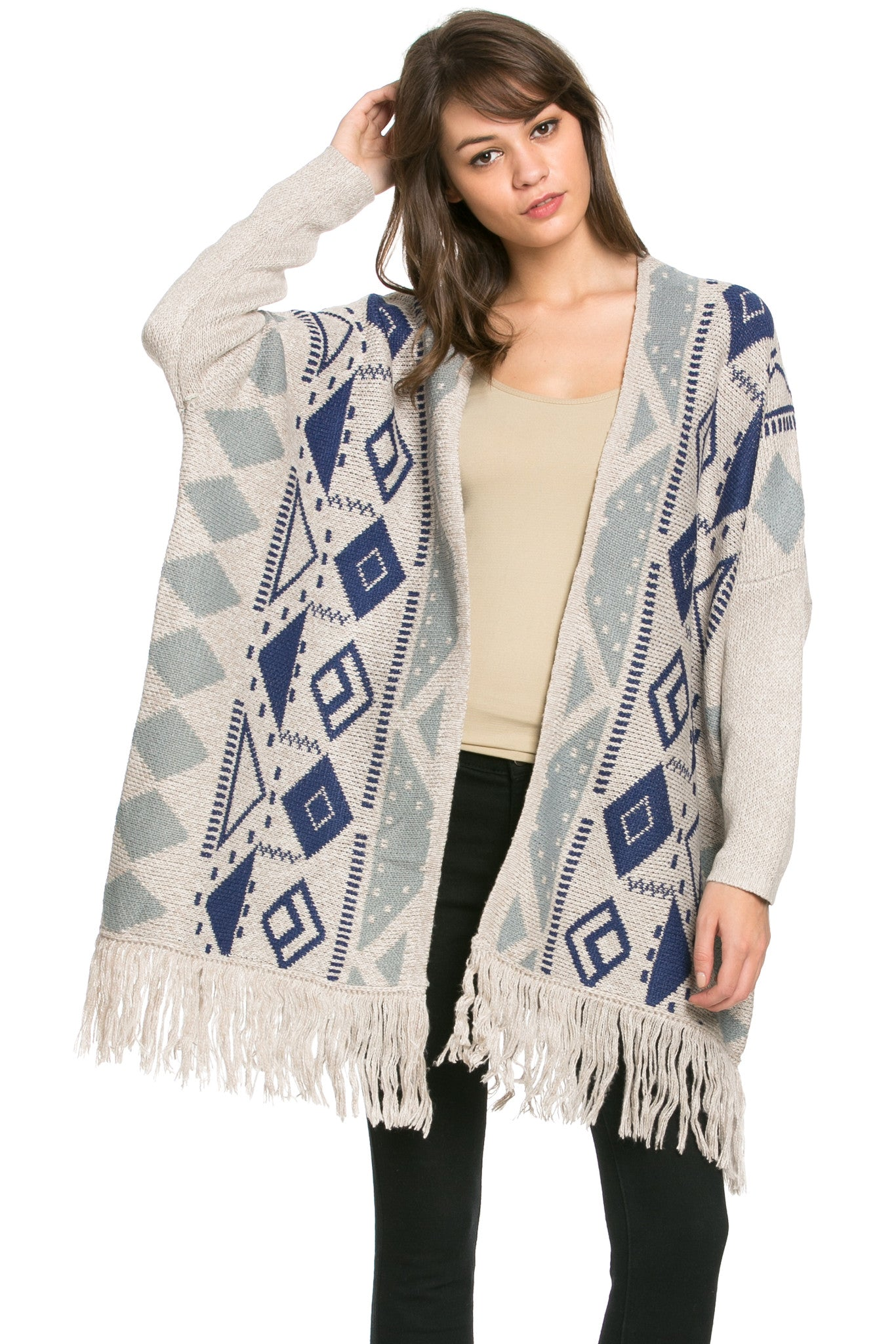 Aztec and Fringes Cardigan Taupe - Jacket - My Yuccie - 2
