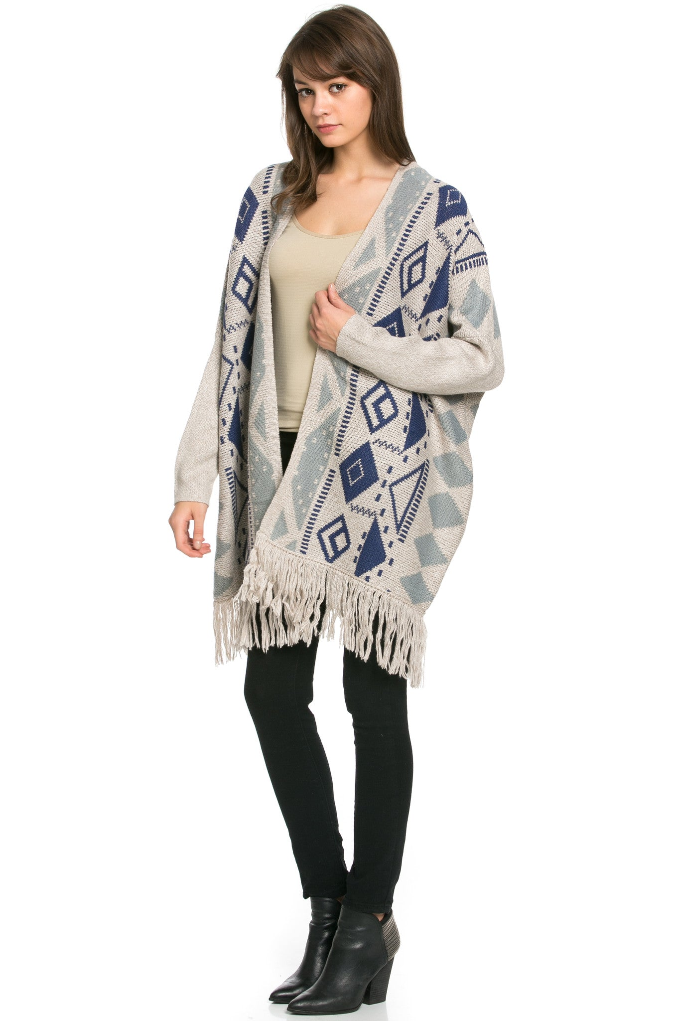 Aztec and Fringes Cardigan Taupe - Jacket - My Yuccie - 5