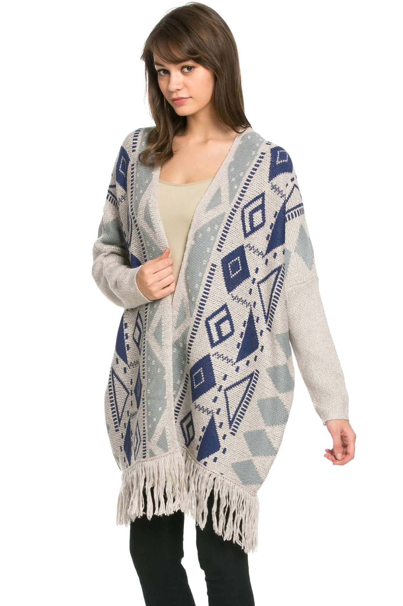 Aztec and Fringes Cardigan Taupe - Jacket - My Yuccie - 3