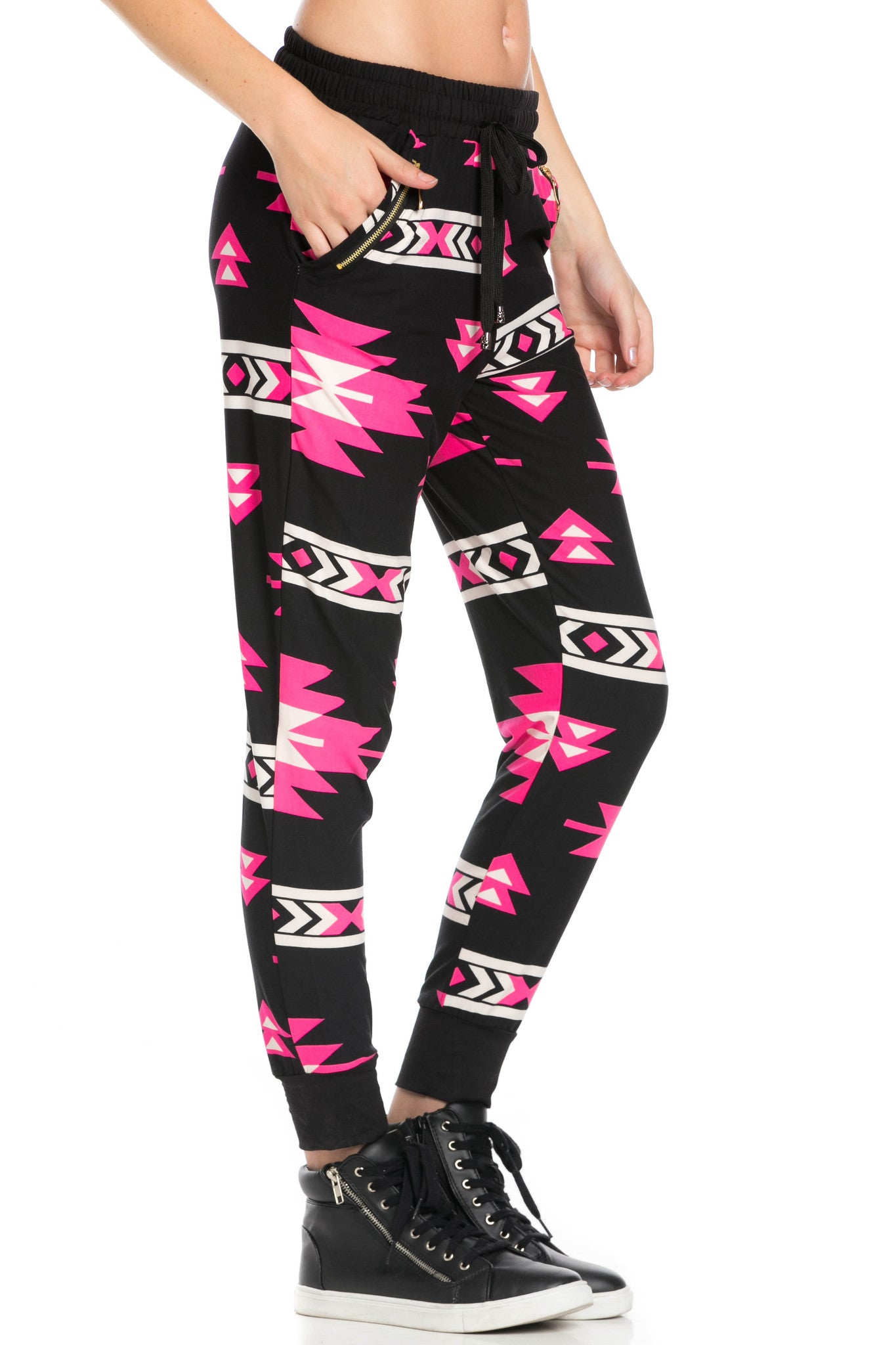 Tribal Pattern Jogger Pants Black Pink - Jogger Pants - My Yuccie - 5
