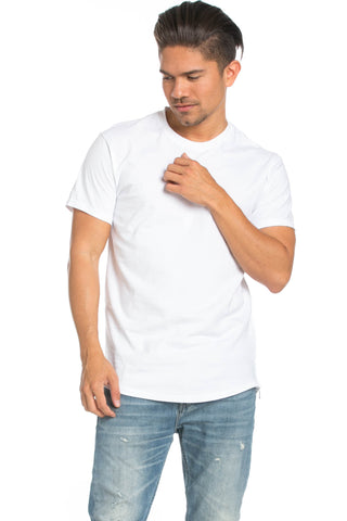 Men's Basic Zipper White T-Shirt - Tops - My Yuccie - 1