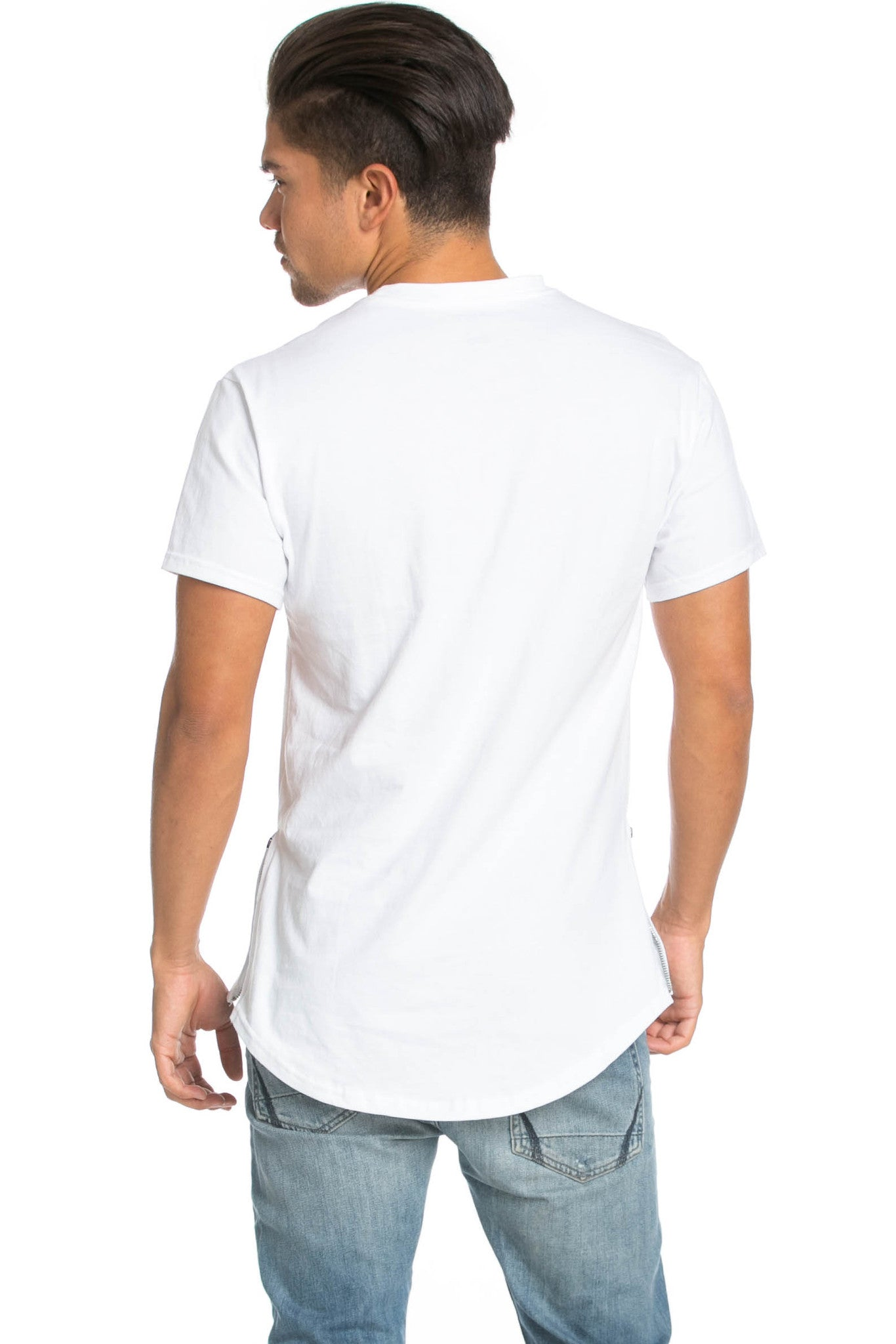 Men's Basic Zipper White T-Shirt - Tops - My Yuccie - 3