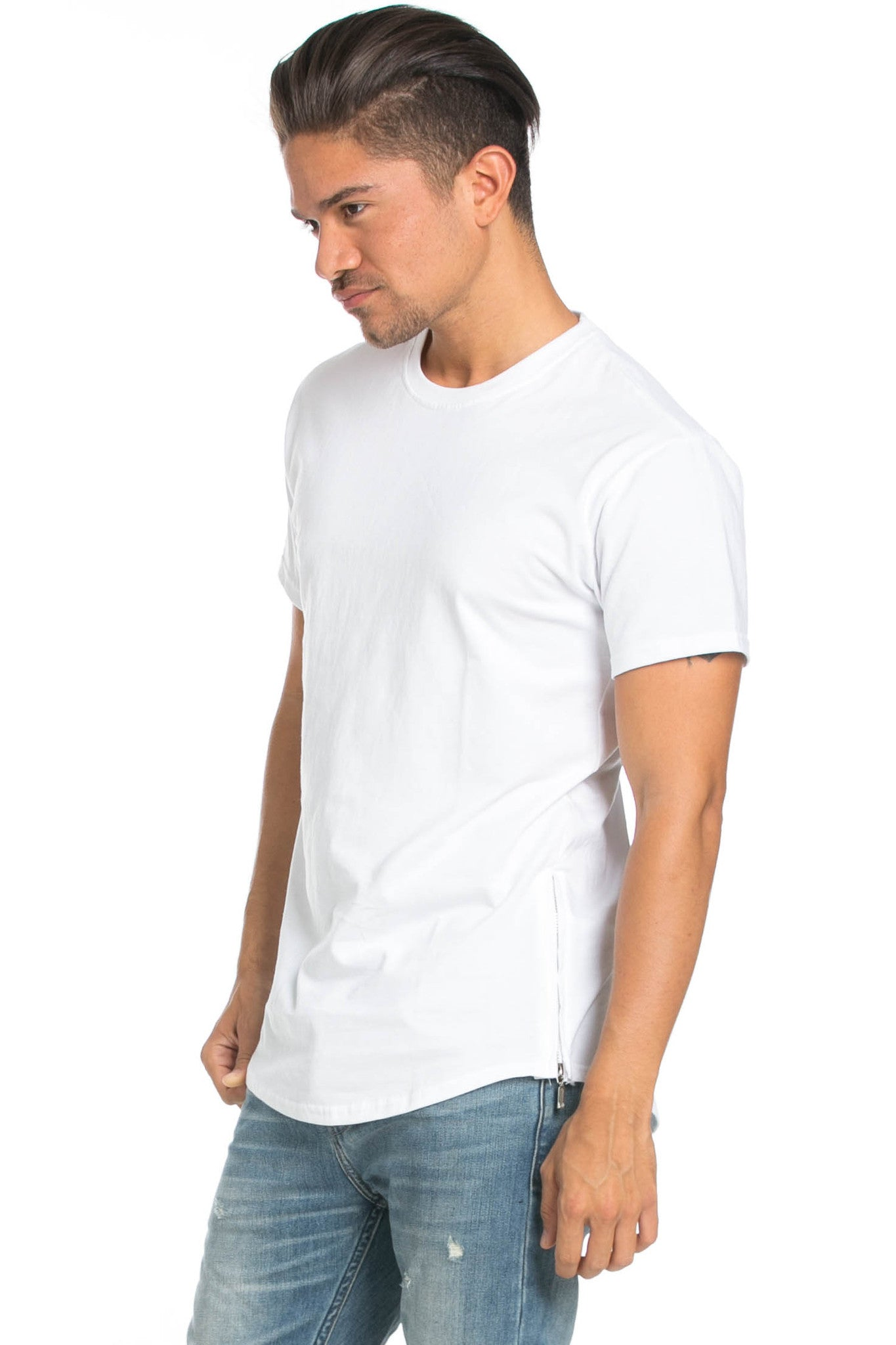 Men's Basic Zipper White T-Shirt - Tops - My Yuccie - 4