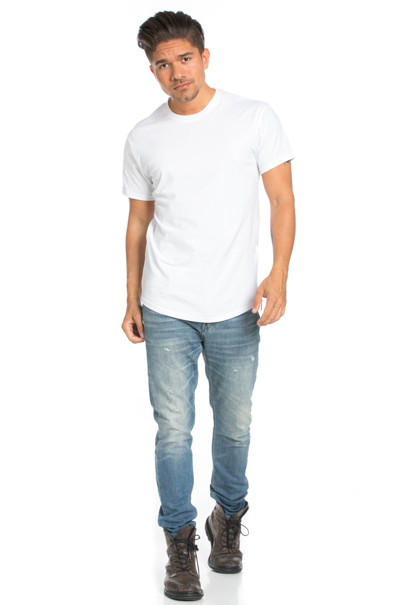 Men's Basic Zipper White T-Shirt - Tops - My Yuccie - 7