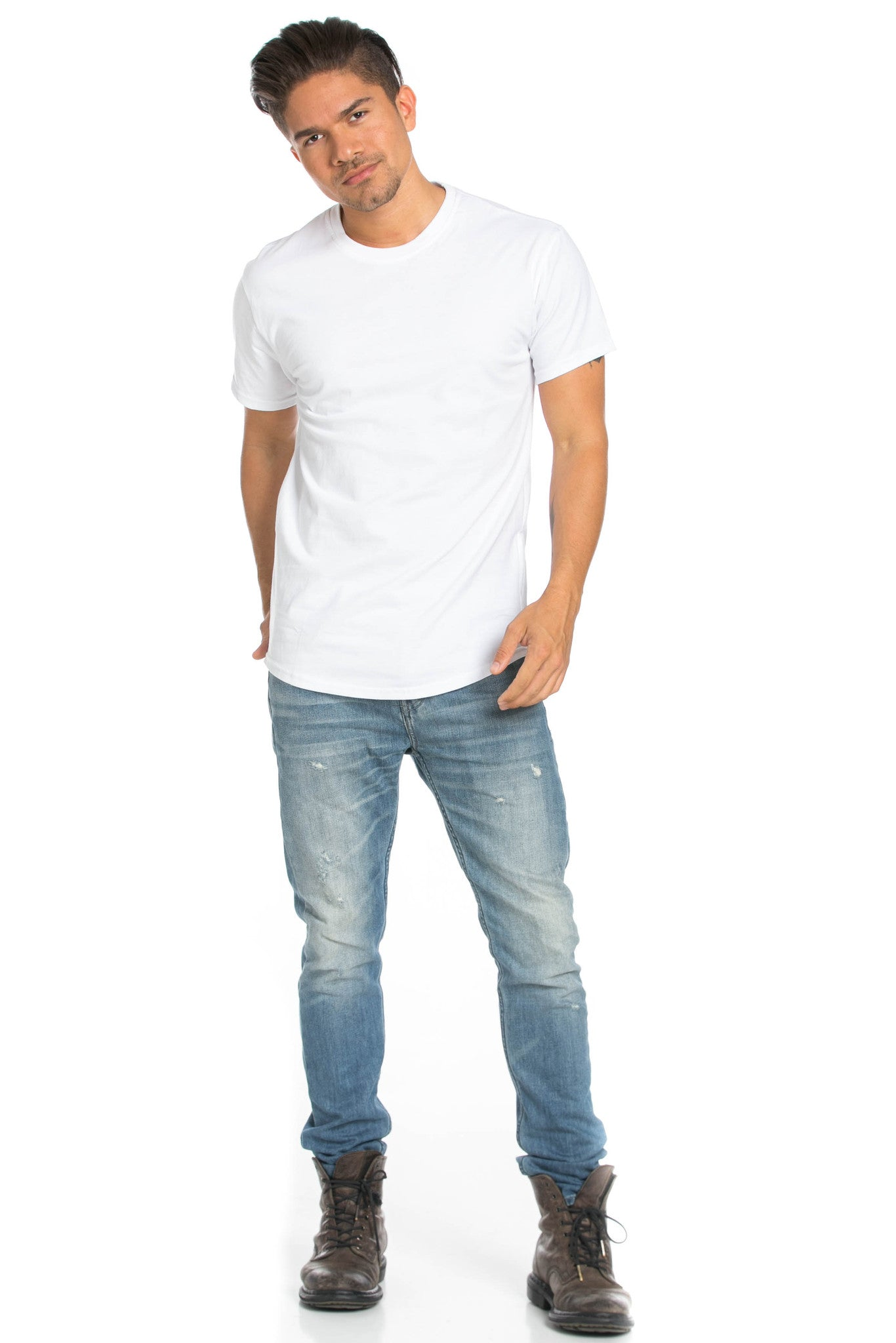 Men's Basic Zipper White T-Shirt - Tops - My Yuccie - 8
