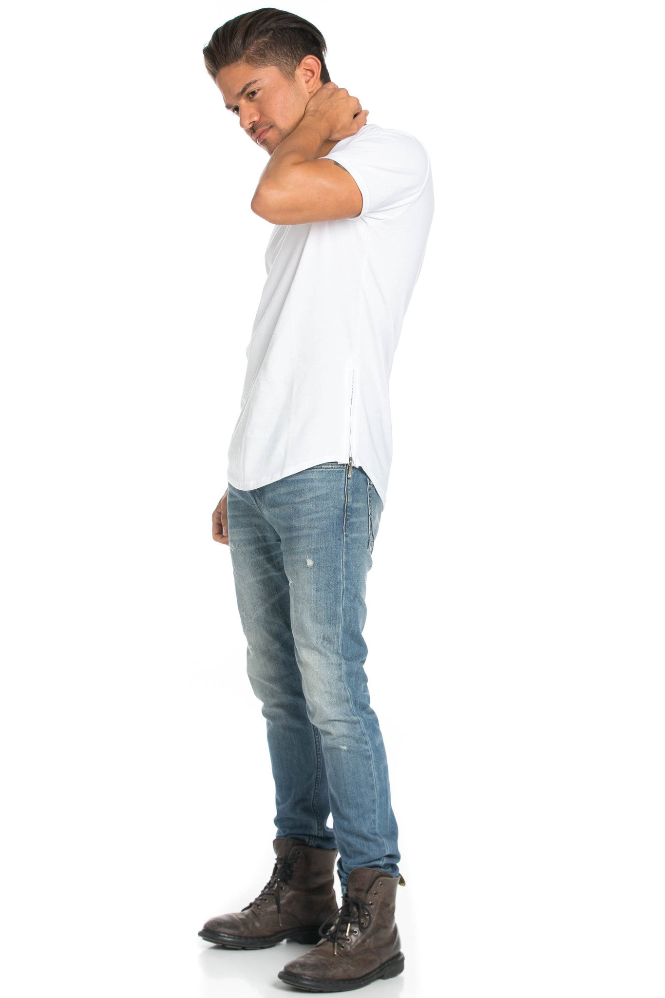 Men's Basic Zipper White T-Shirt - Tops - My Yuccie - 9