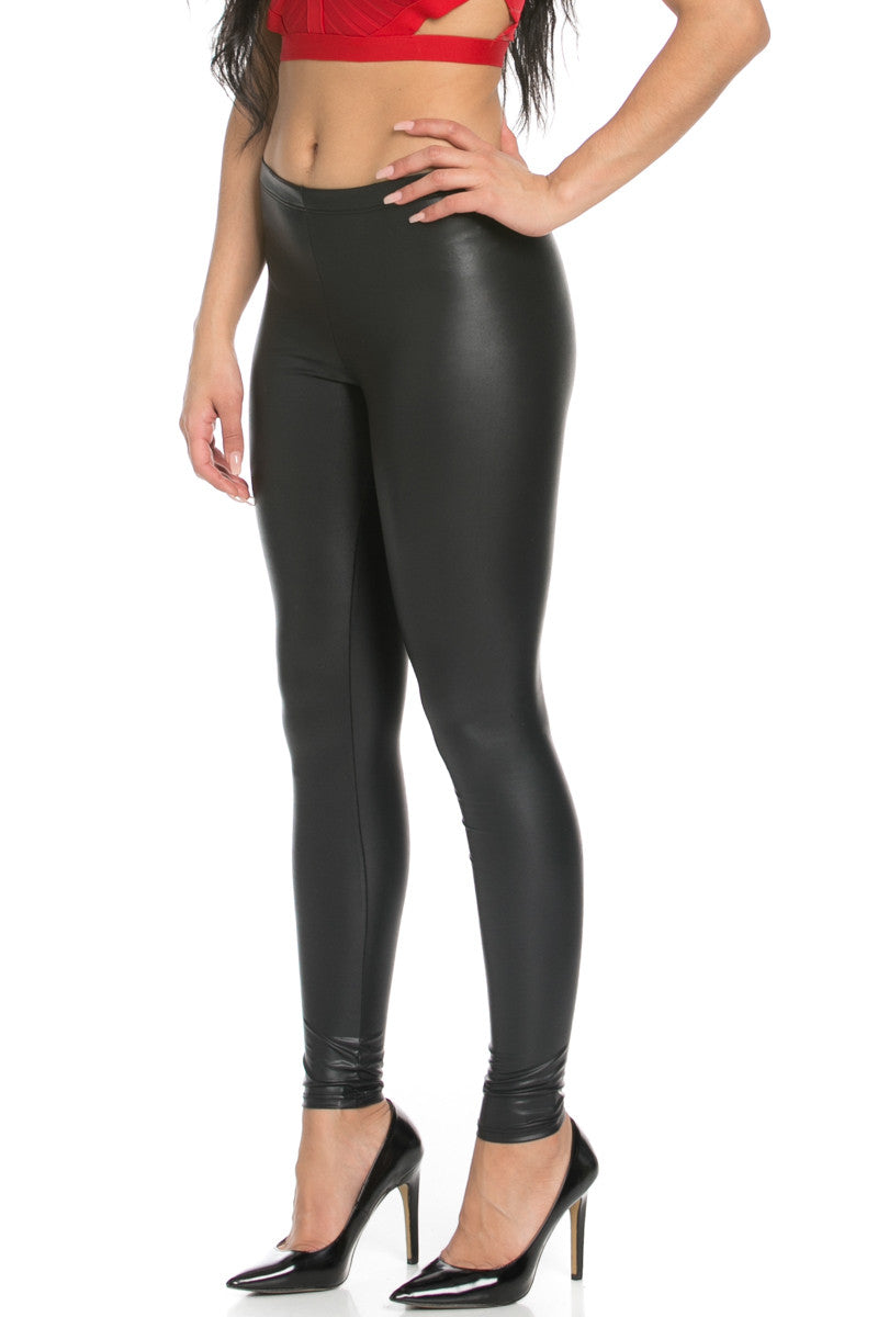 Stretchy Faux PU Leather Leggings Black - Leggings - My Yuccie