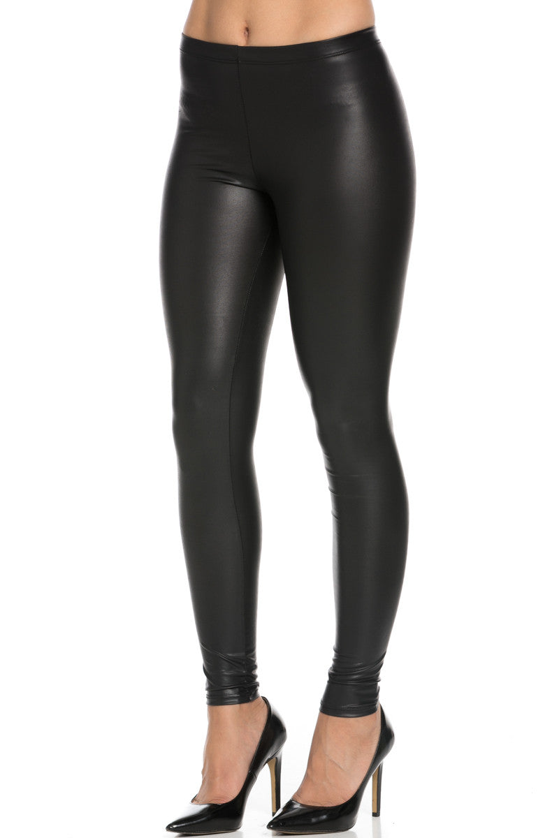 Stretchy Faux PU Leather Leggings Black - Leggings - My Yuccie - 2
