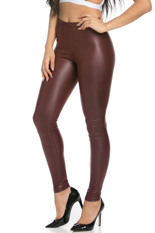 Stretchy Faux PU Leather Leggings Burgundy - Leggings - My Yuccie - 1