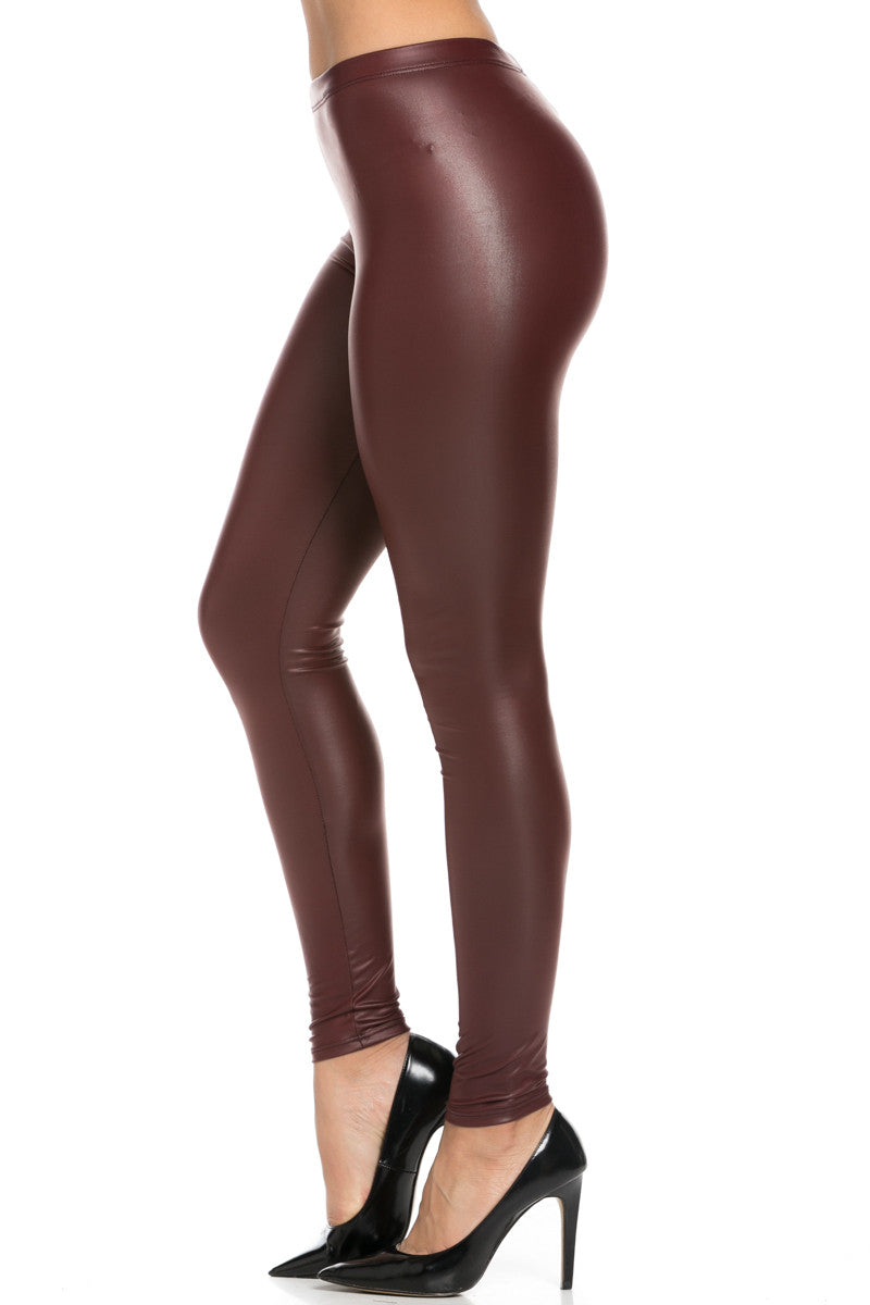 Stretchy Faux PU Leather Leggings Burgundy - Leggings - My Yuccie - 3
