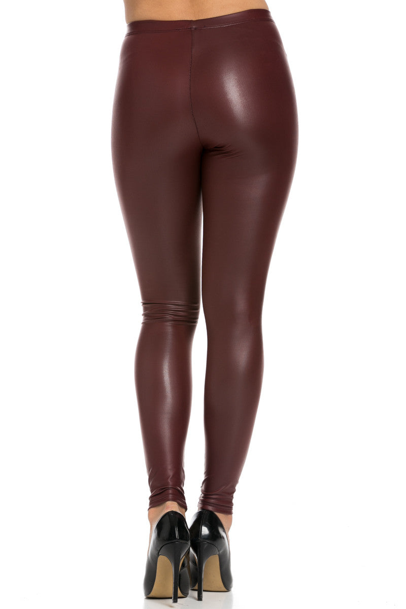 Stretchy Faux PU Leather Leggings Burgundy - Leggings - My Yuccie - 4