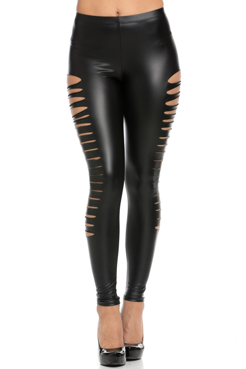 Slit Stretchy Faux PU Leather Leggings Black - Leggings - My Yuccie - 2
