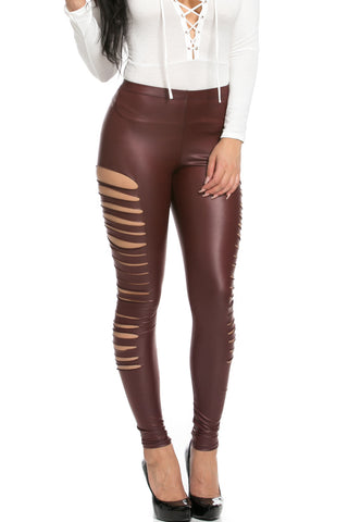 Slit Stretchy Faux PU Leather Leggings Burgundy - Leggings - My Yuccie - 1