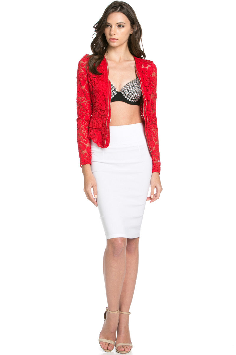 Lace Galore Jacket Red - Jacket - My Yuccie - 4
