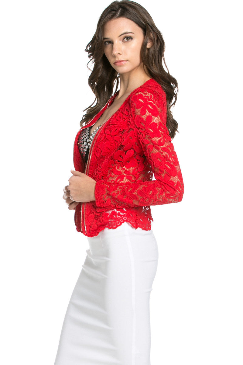 Lace Galore Jacket Red - Jacket - My Yuccie - 2