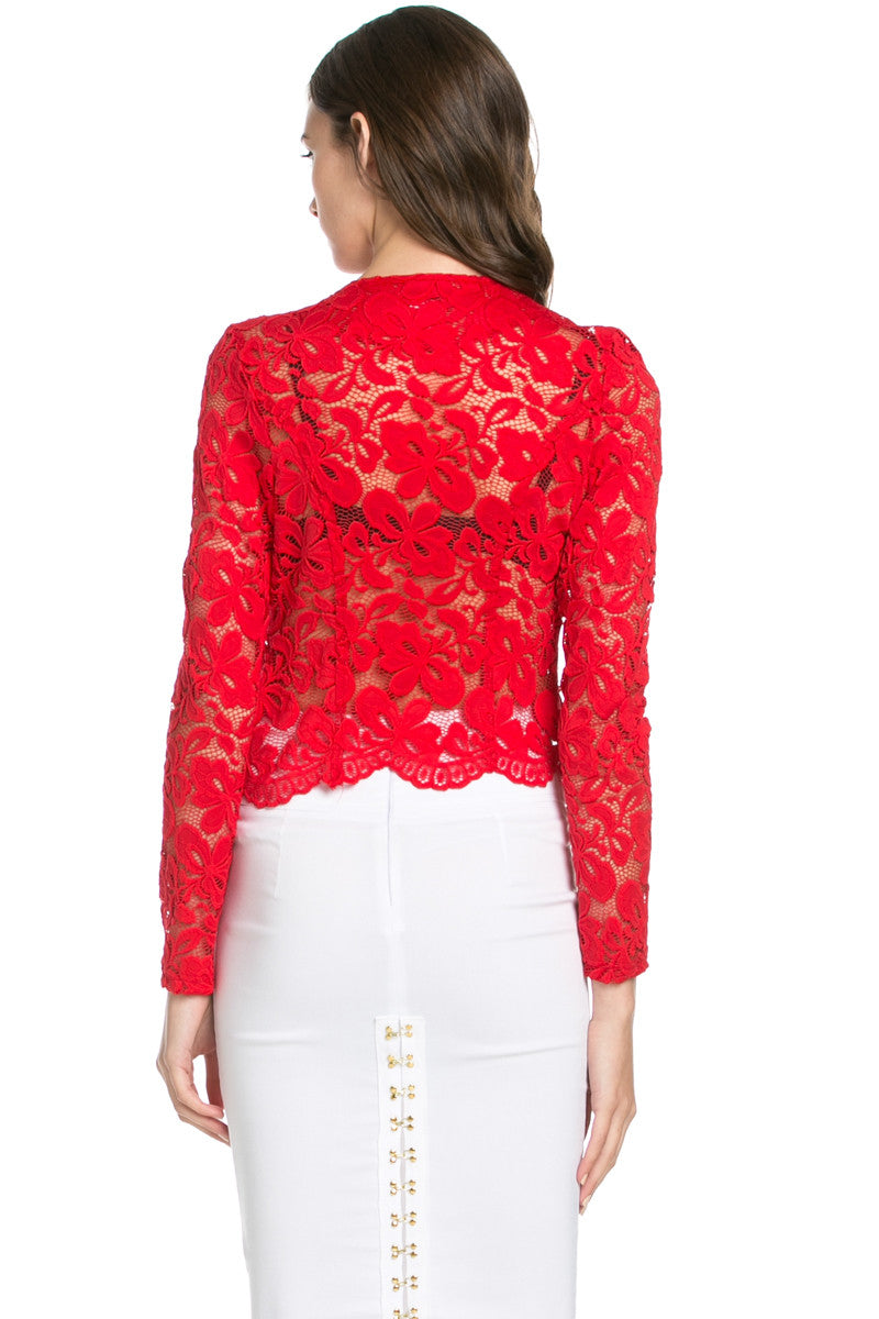 Lace Galore Jacket Red - Jacket - My Yuccie - 3