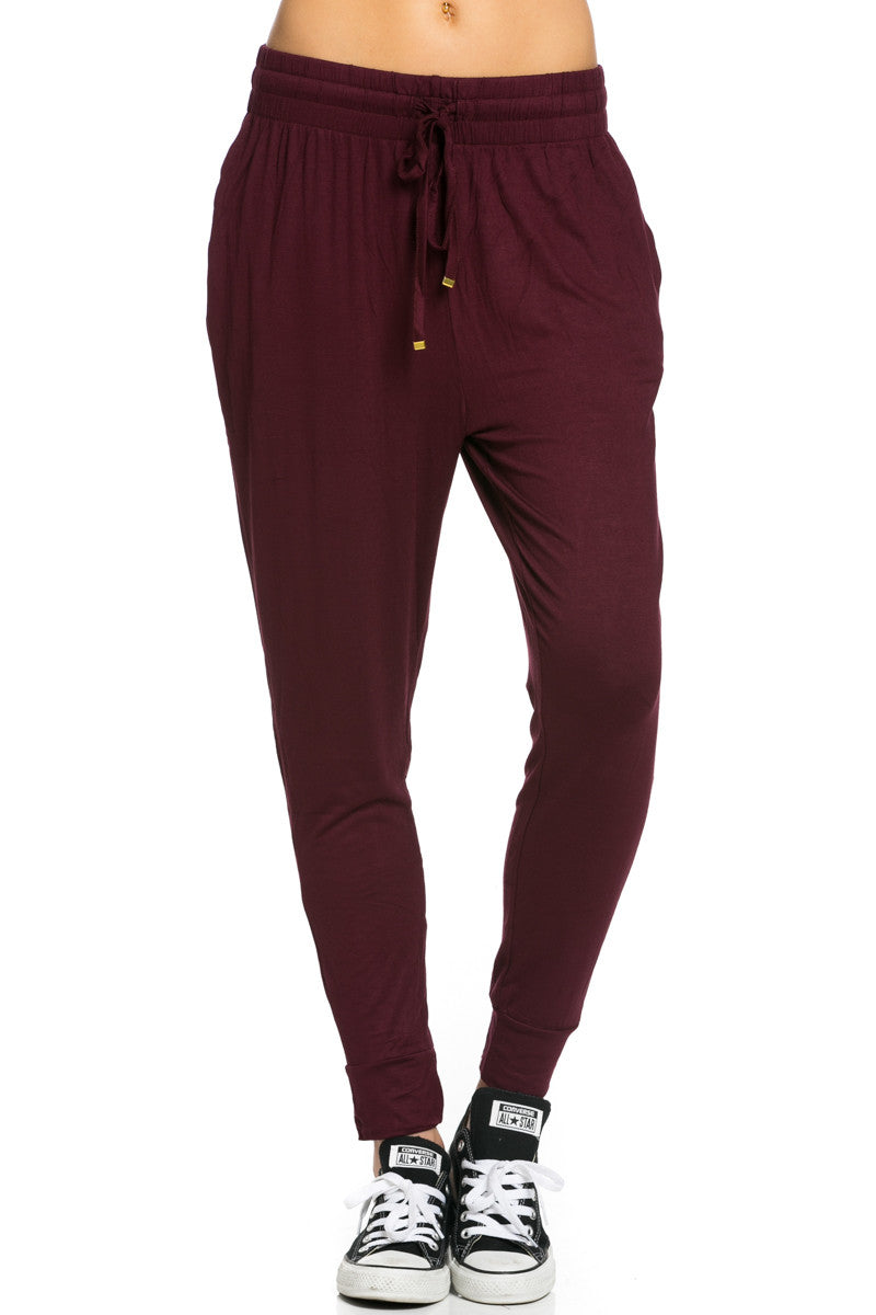 Lightweight Jogger Pants Burgundy - Jogger Pants - My Yuccie - 1