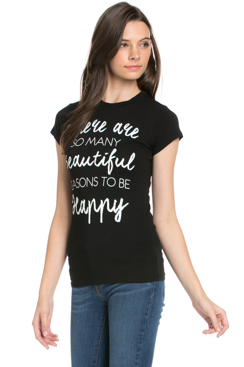 Reasons To Be Happy Graphic Tee Black - Tops - My Yuccie - 1
