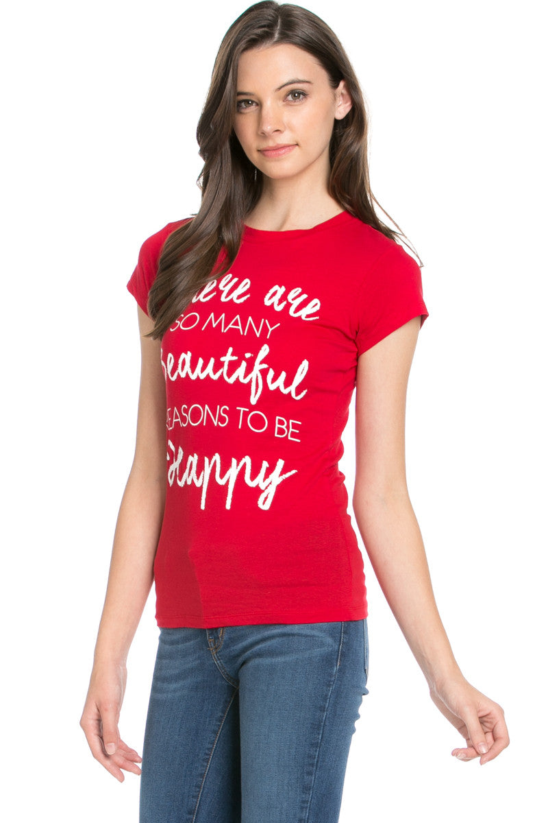 Reasons To Be Happy Graphic Tee Red - Tops - My Yuccie - 2