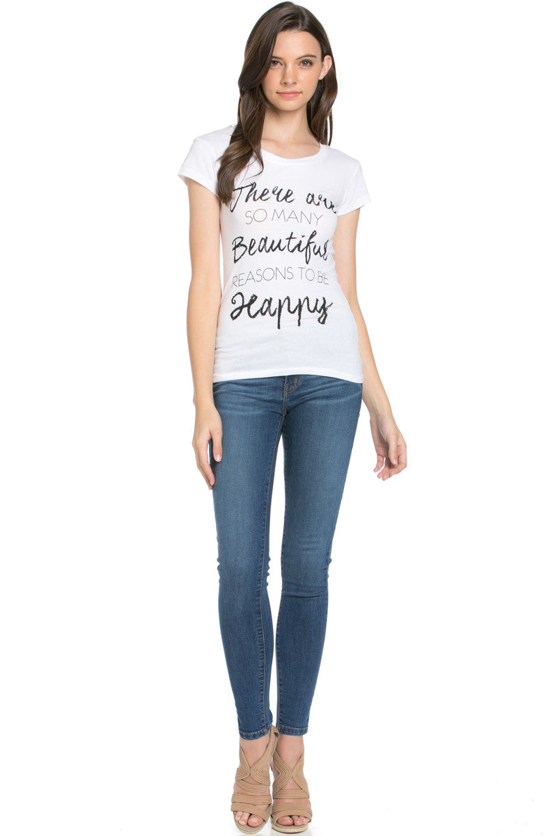 Reasons To Be Happy Graphic Tee White - Tops - My Yuccie - 5