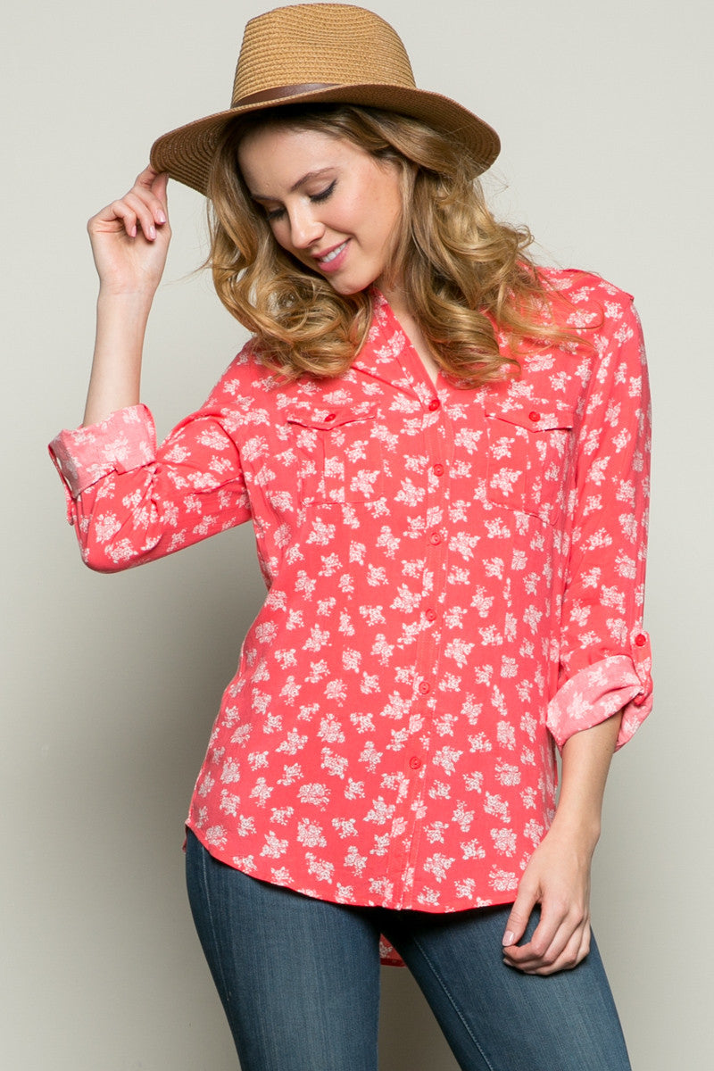 Classic Roses Shirt Coral - Tops - My Yuccie - 1