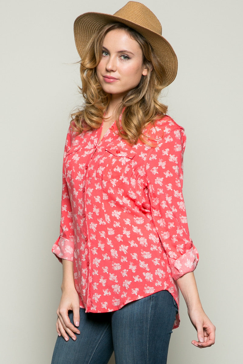 Classic Roses Shirt Coral - Tops - My Yuccie - 2