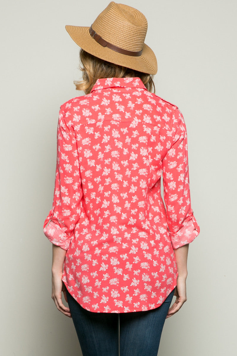 Classic Roses Shirt Coral - Tops - My Yuccie - 3