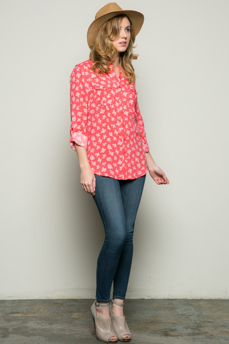 Classic Roses Button Down Shirt Coral - Tops - My Yuccie - 4