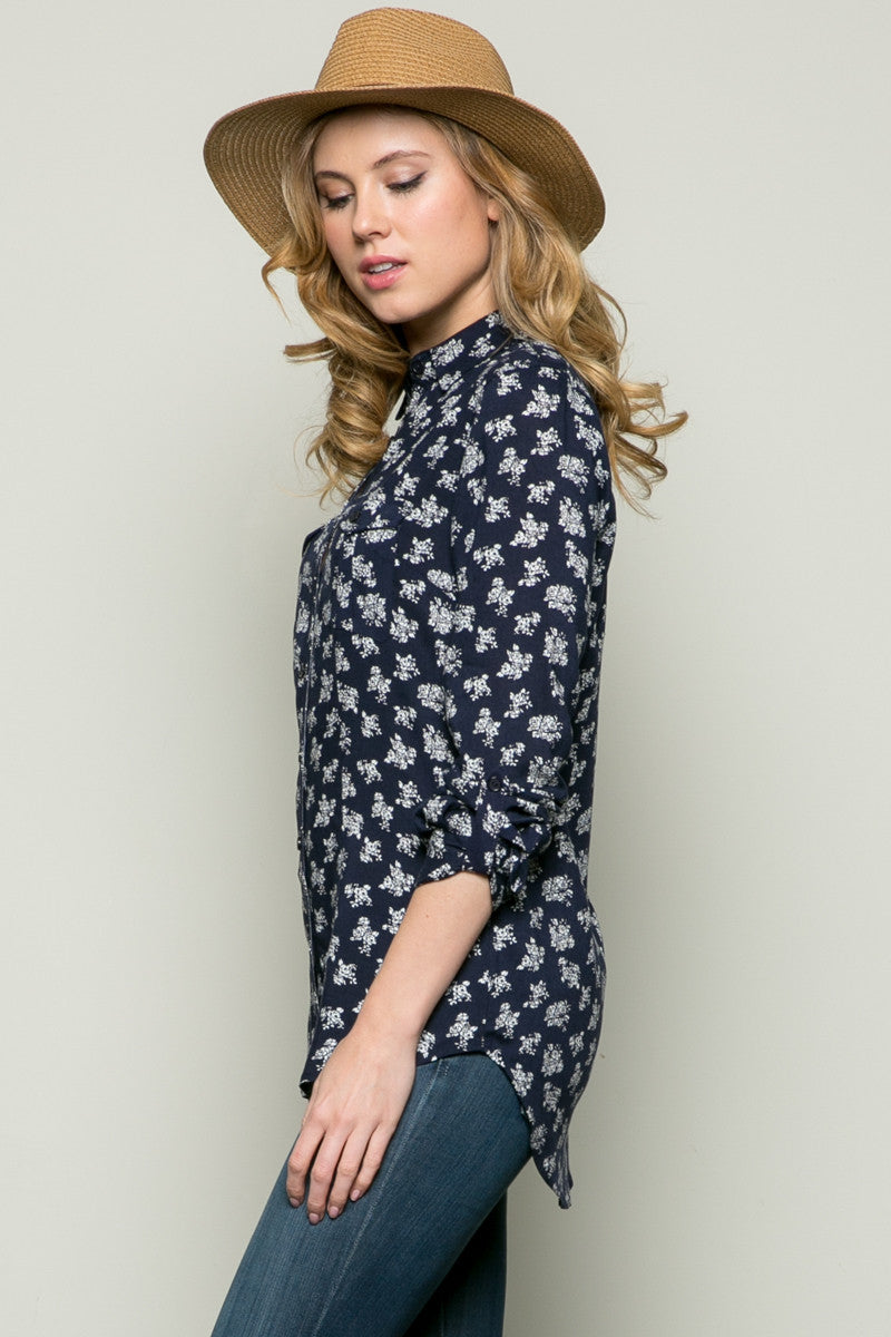 Classic Roses Shirt Navy - Tops - My Yuccie - 2