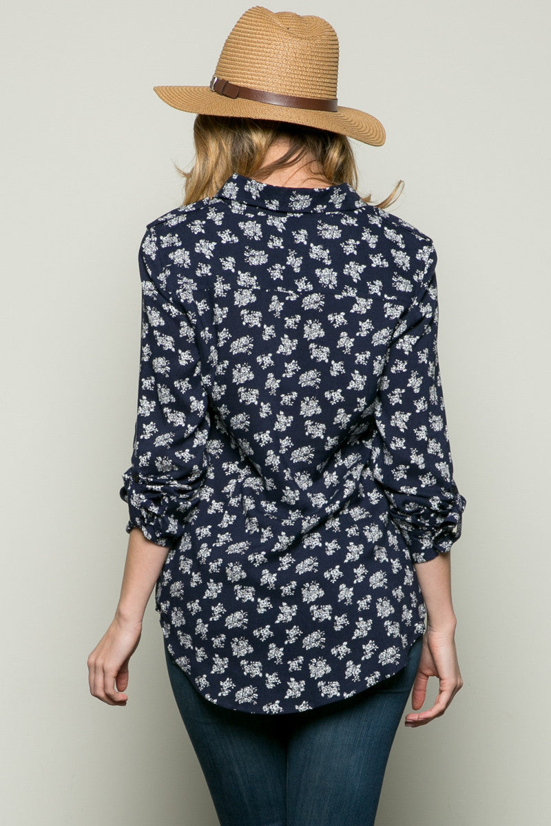 Classic Roses Shirt Navy - Tops - My Yuccie - 3