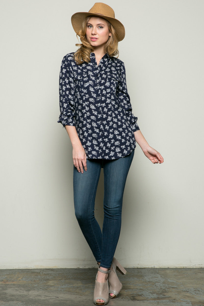 Classic Roses Shirt Navy - Tops - My Yuccie - 4