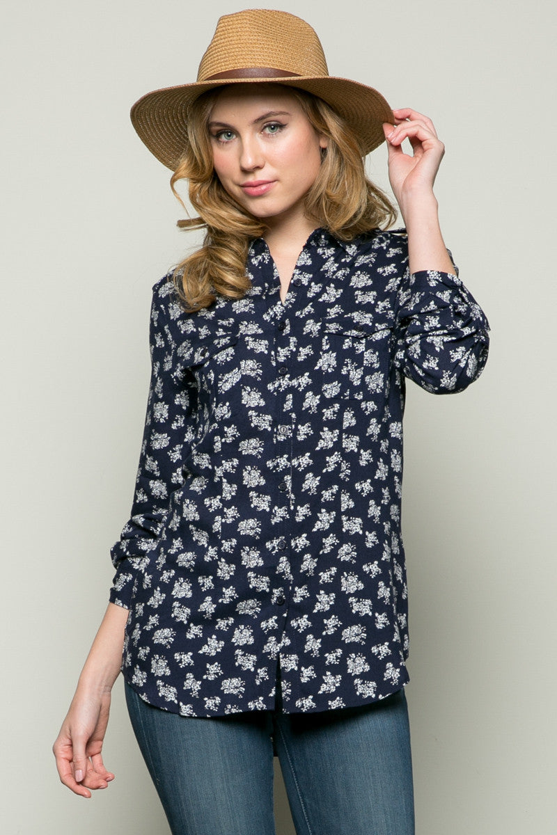 Classic Roses Shirt Navy - Tops - My Yuccie - 1